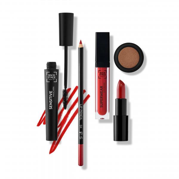 Set Glamorous Look: Sensitive Mascara, Lip Pencil 04, Superwear Lipcream Red Wine, Lipstick Satin Cover No. 429 Burlesque, Eyeshadow No. 07 Woodstock