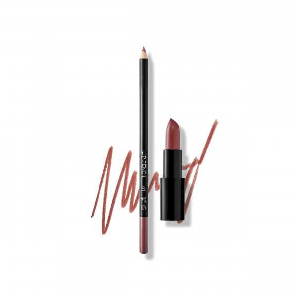 Set Bold Lips: Lip Pencil No. 01, Lipstick Satin Cover No. 111 Vintage Plum